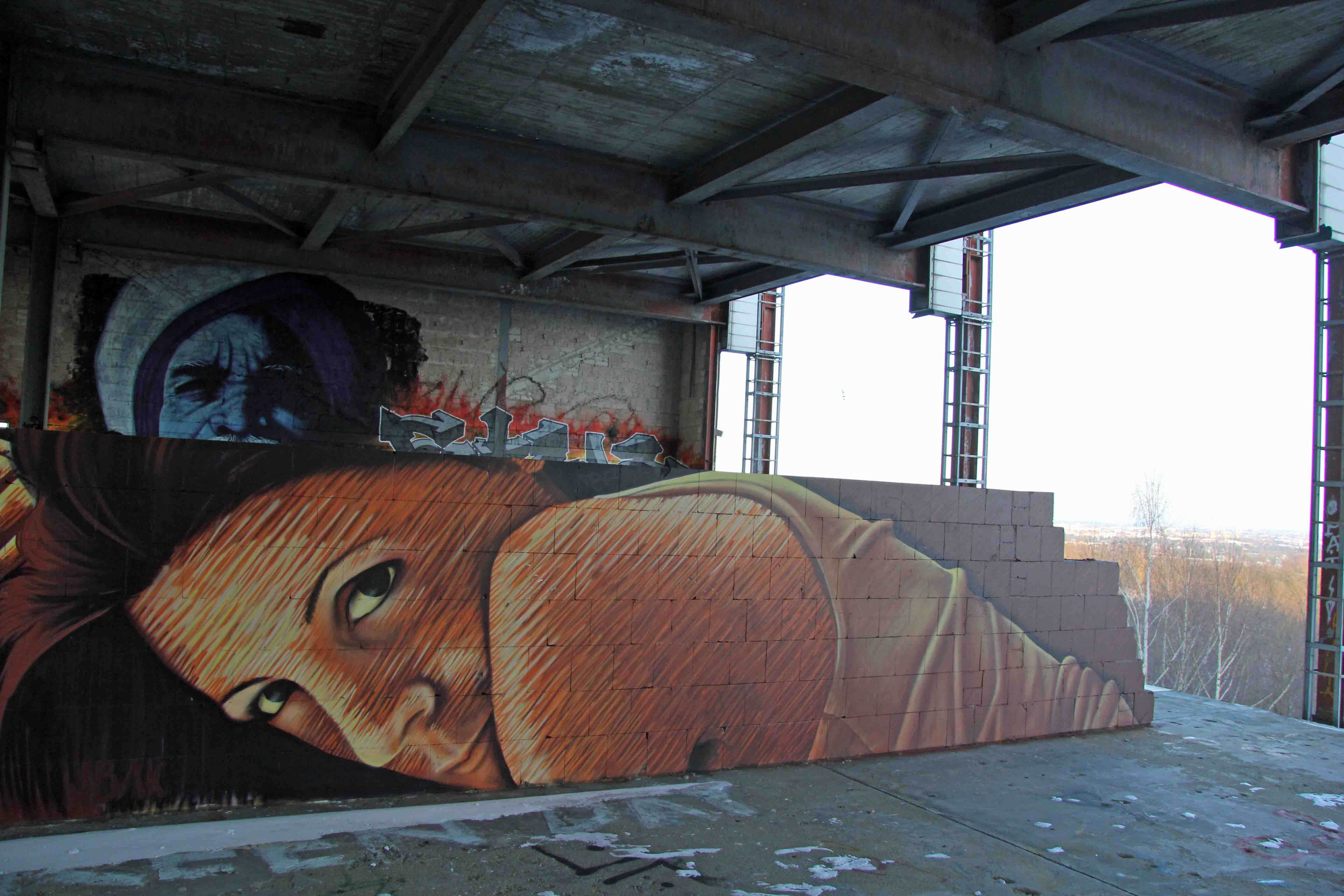 Morning - Street Art by JBAK (painted for Artbase 2012) at the former NSA Listening Station at Teufelsberg Berlin