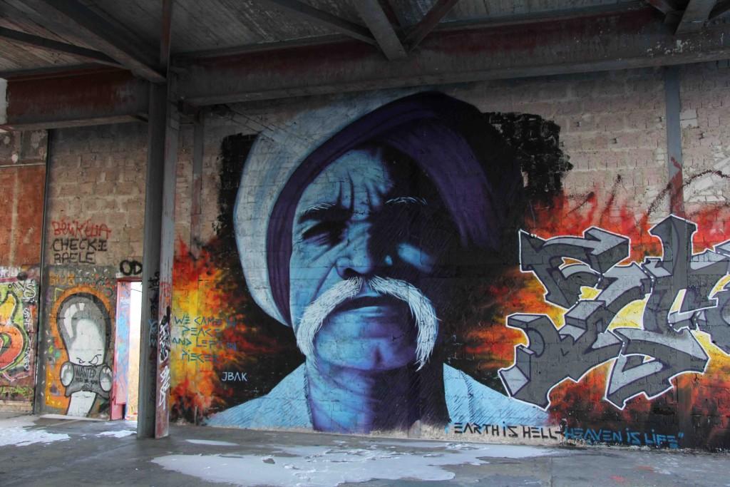 Old Man - Street Art by JBAK (painted for Artbase 2012) at the former NSA Listening Station at Teufelsberg Berlin