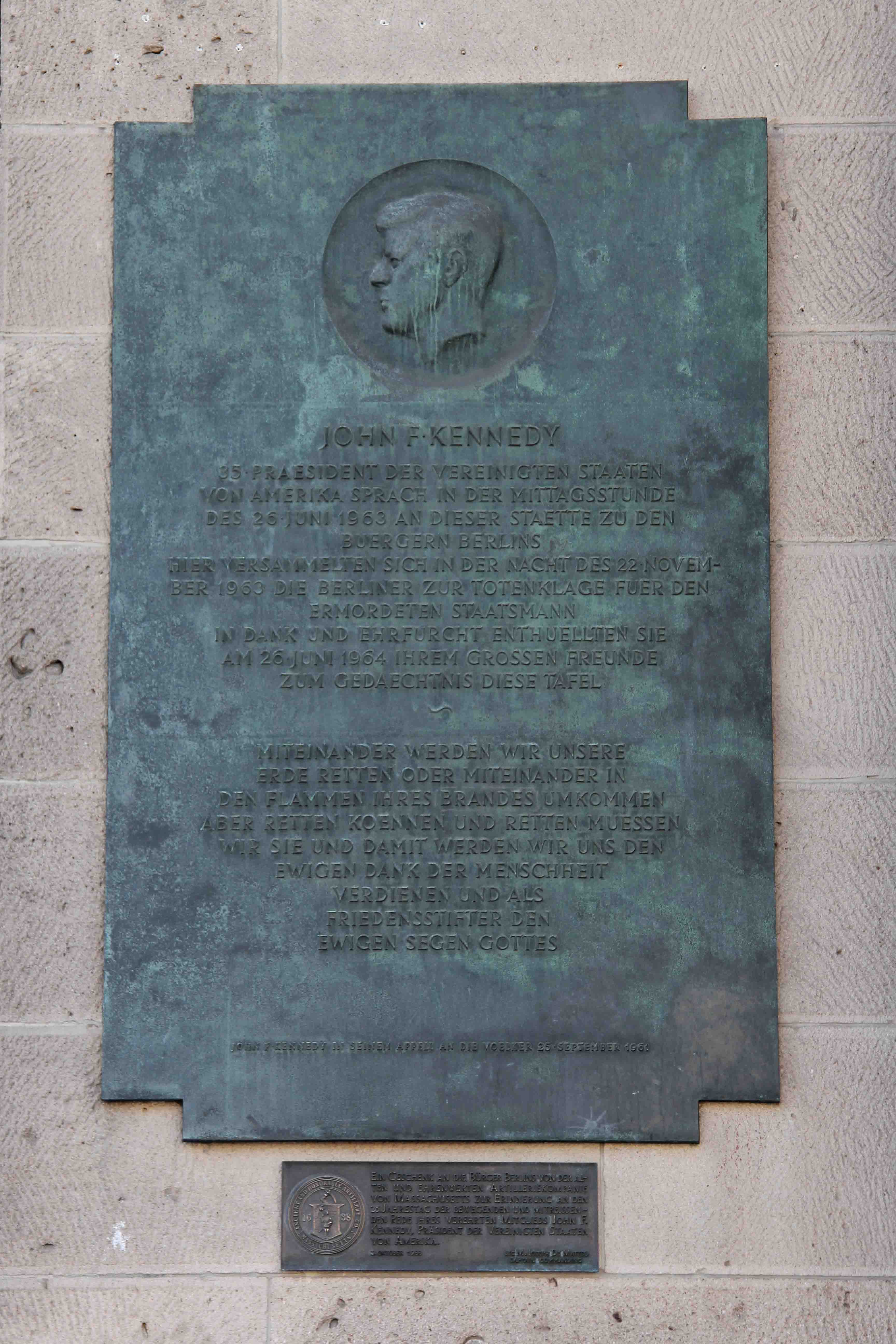 "John F Kennedy (JFK) Plaque at Rathaus Schöneberg Berlin commemorating his ""Ich Bin Ein Berliner"" speech"