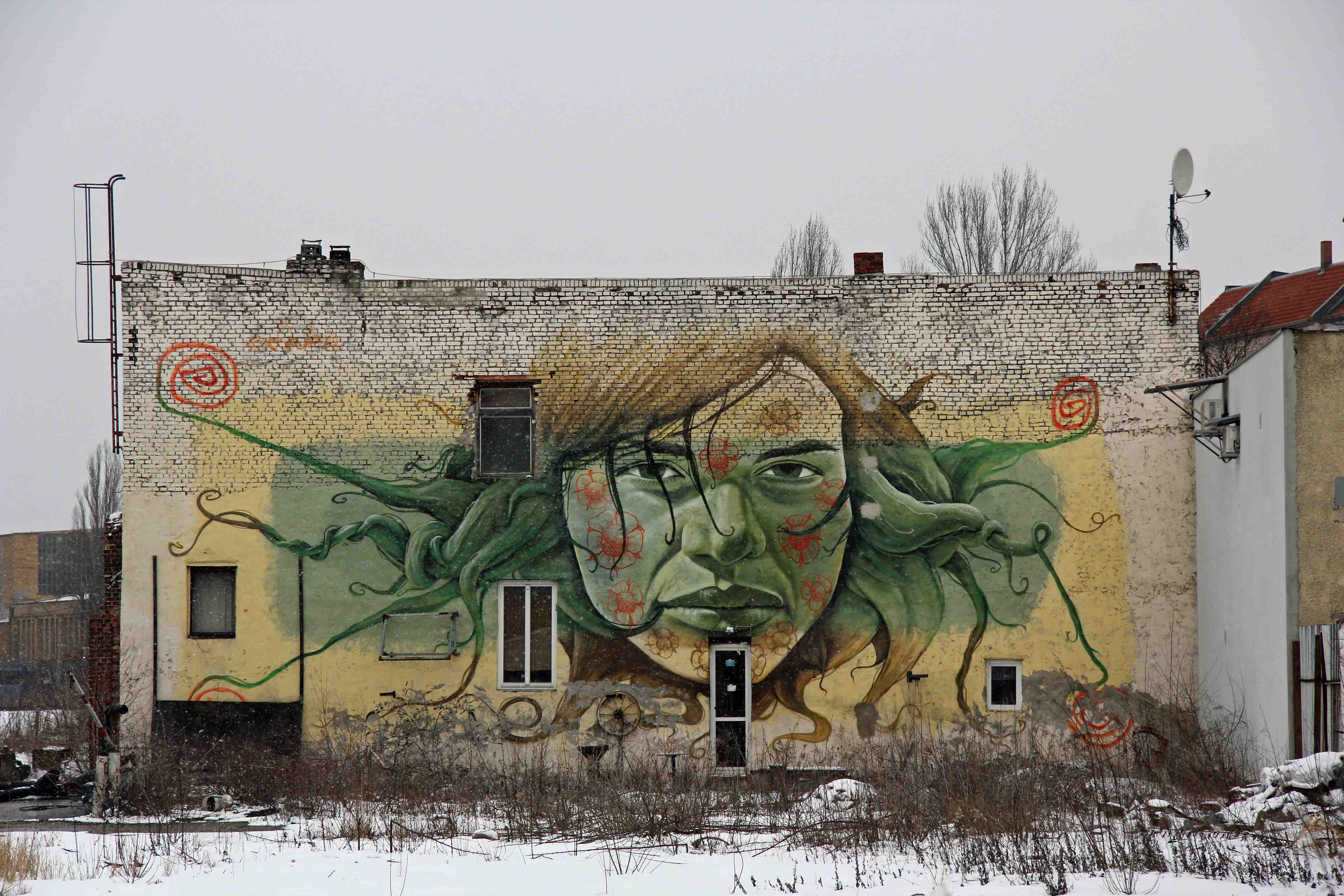 Green Goddess - Street Art by Lake in Berlin Schöneweide
