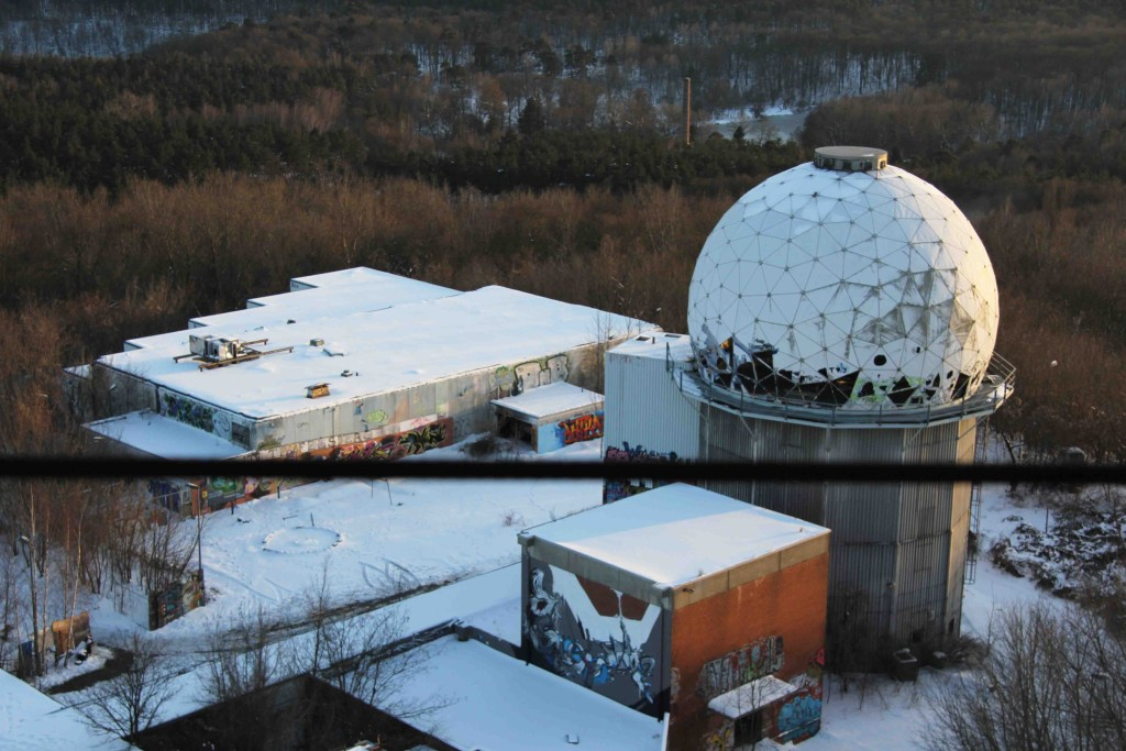 Looking down on buildings at the former NSA Listening Station at Teufelsberg in Berlin