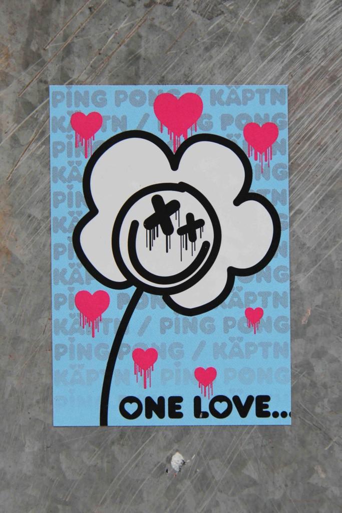 One Love - Sticker Street Art by Ping Pong x Käptn