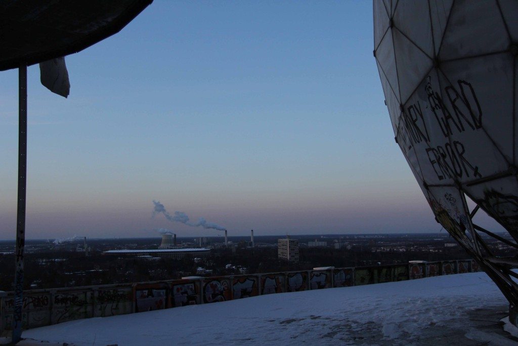 Pink sky and a dome on the roof of the former NSA Listening Station at Teufelsberg in Berlin