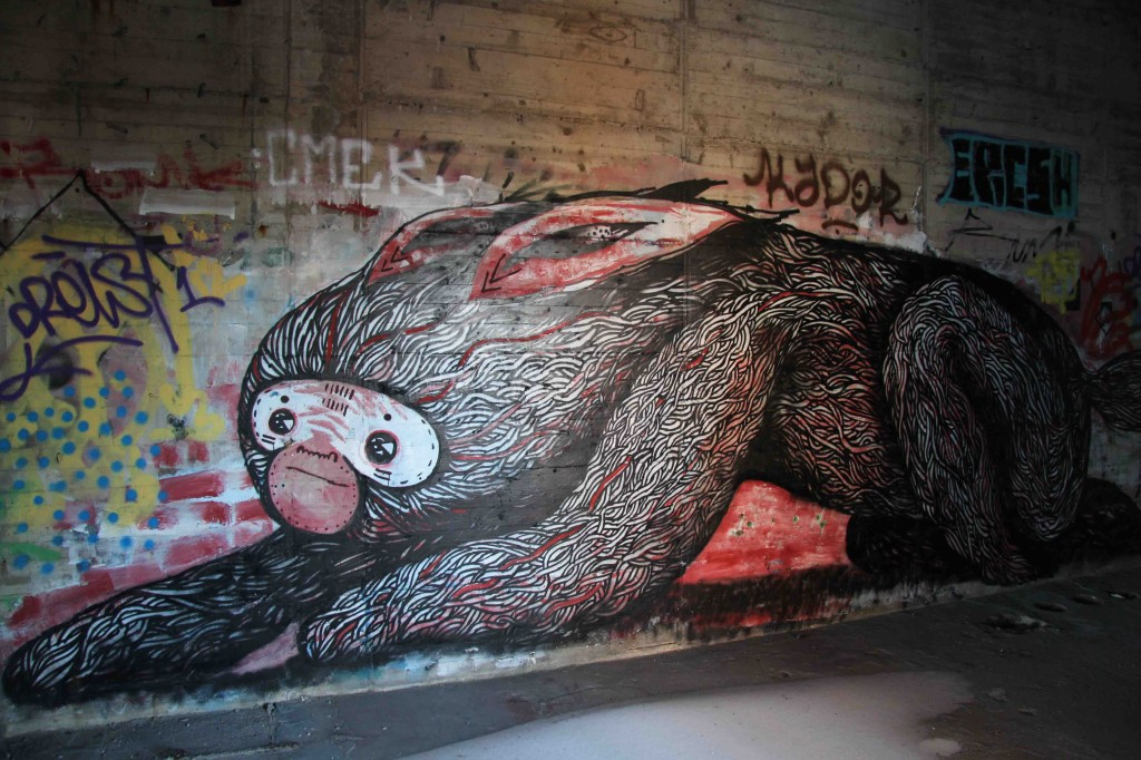 Stretching - Street Art by SAM Crew (painted for Artbase 2012) at the former NSA Listening Station at Teufelsberg Berlin