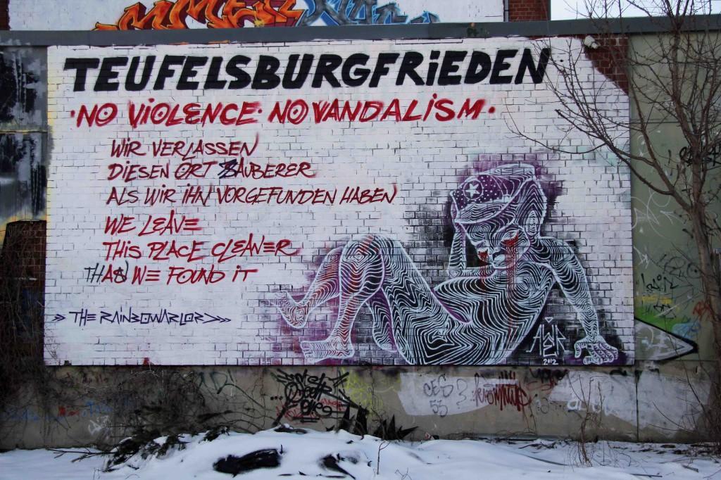 Teufelsbergfrieden - Street Art by The Rainbowarlord at the former NSA Listening Station at Teufelsberg Berlin