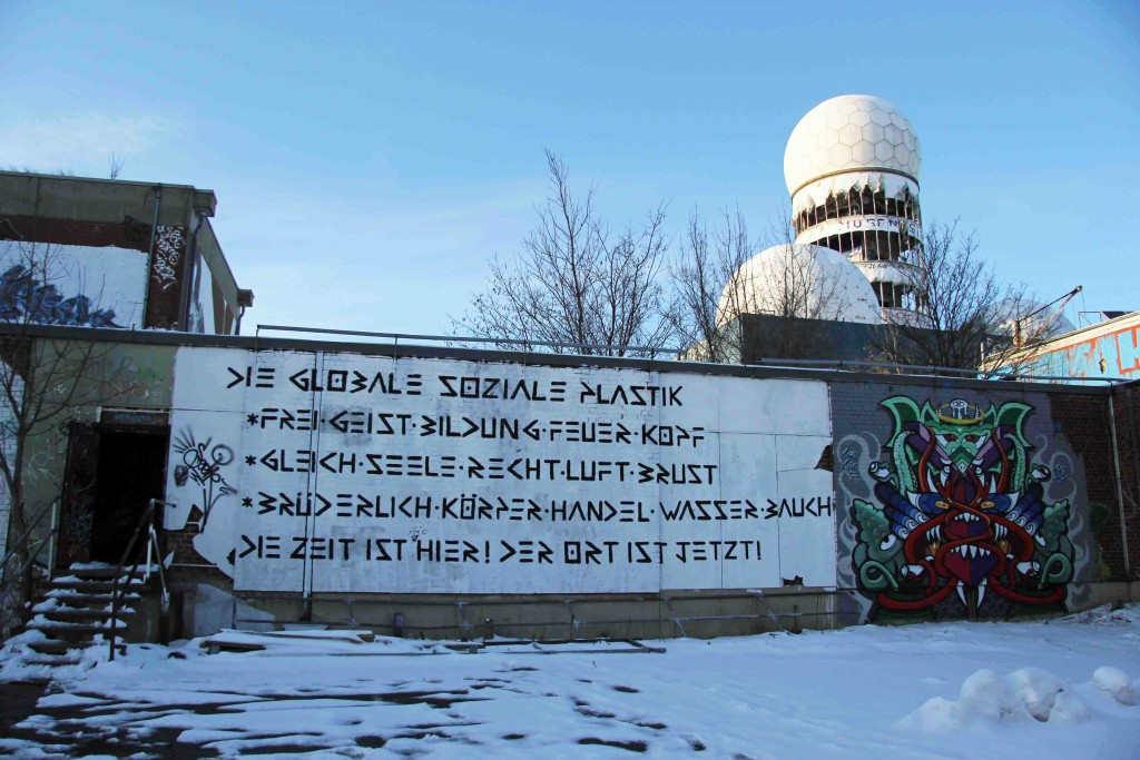 The domes of the former NSA Listening Station loom over the art at Teufelsberg Berlin