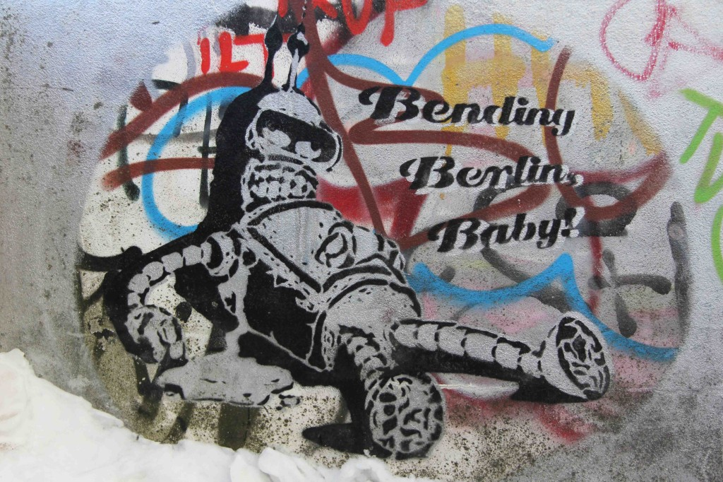 Bending Berlin Baby (Bender from Futurama) - Street Art by Ambush at the former NSA Listening Station at Teufelsberg Berlin