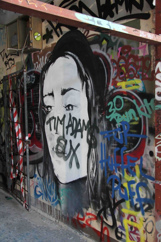 Black and White Girl - Street Art by Unknown Artist at the former NSA Listening Station at Teufelsberg Berlin