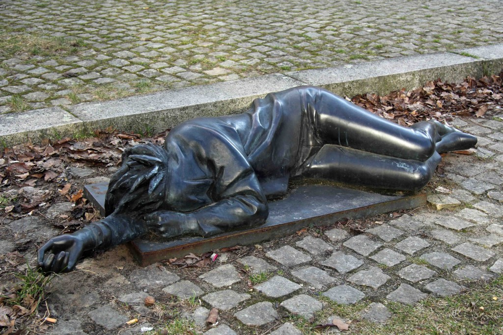 Ludmila Seefried-Matejková - Sleeping - a punk statue outside the Bürgeramt Charlottenburg-Wilmersdorf in Berlin