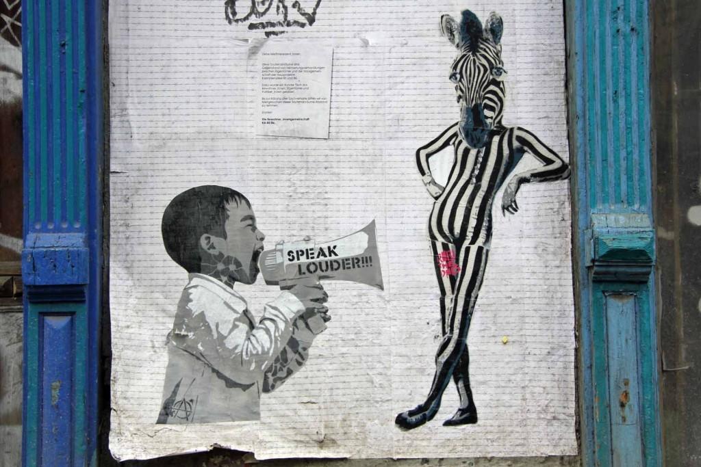 Speak Louder & Leggy Zebra - Street Art by Robi The Dog & .FRA in Berlin