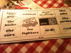 Rock n Roll Bingo Card at White Trash Fast Food in Berlin