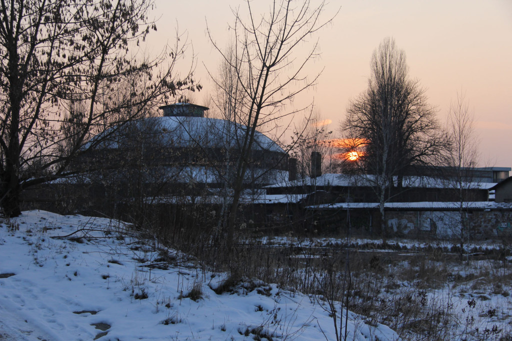 Sunset at the Roundhouse of Bahnbetriebswerk Pankow-Heinersdorf in Berlin