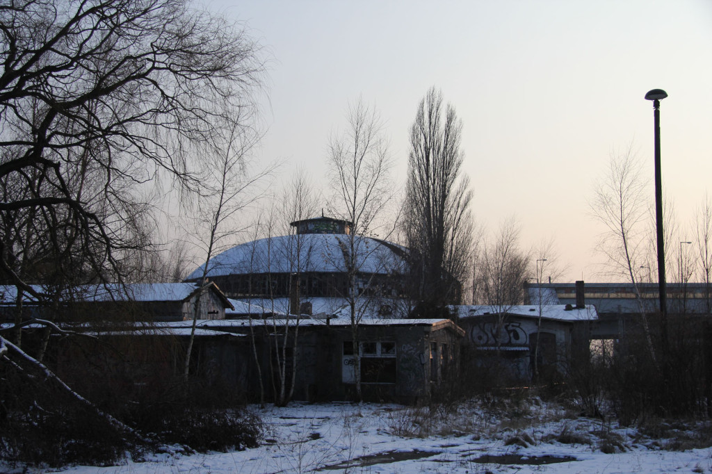 The Roundhouse of Bahnbetriebswerk Pankow-Heinersdorf in Berlin at Dusk