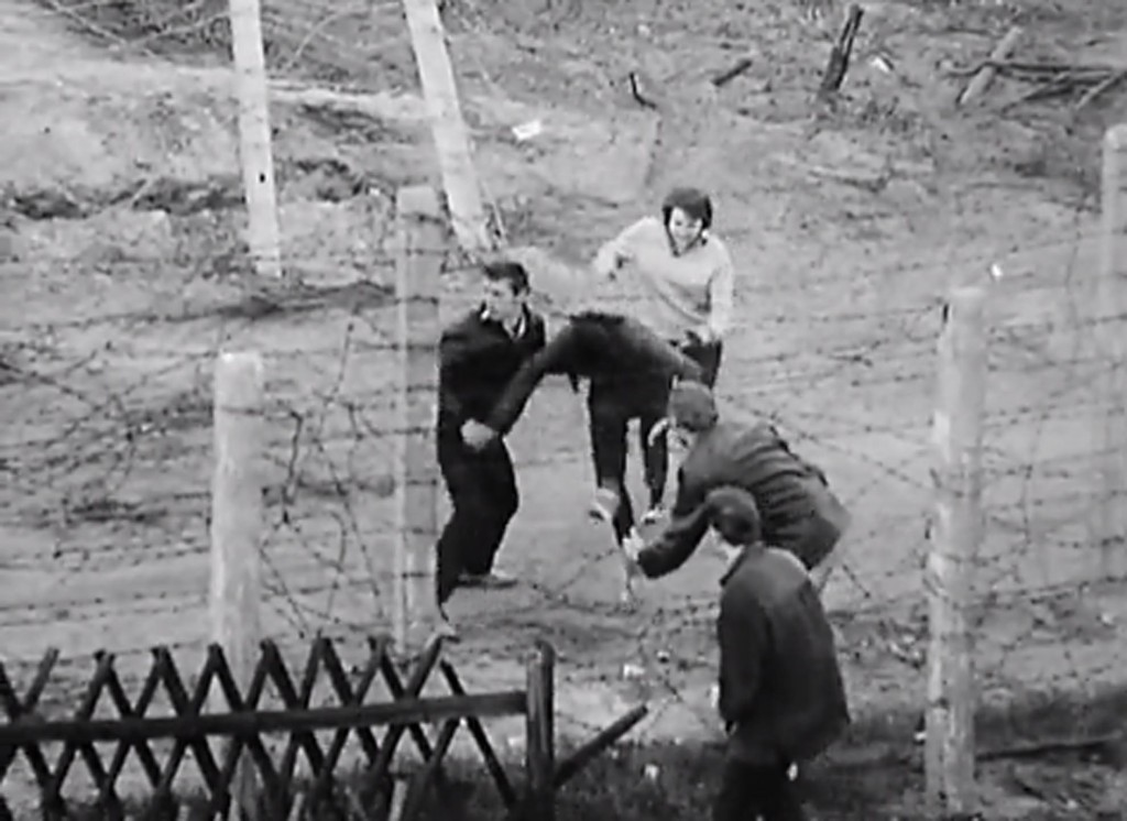 Berlin in the 1960s - an escape attempt (screenshot from The Wall)
