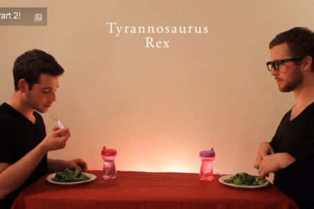 How Animals Eat Their Food (T-Rex screen print from video)