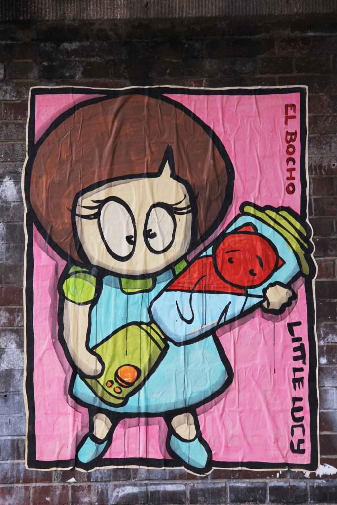 Little Lucy with Kitti in the Blender - Street Art by El Bocho in Berlin