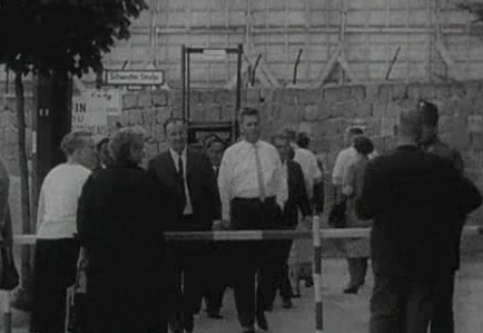 People At The Berlin Wall At Schwedter Strasse - Still From NBC Documentary - The Tunnel