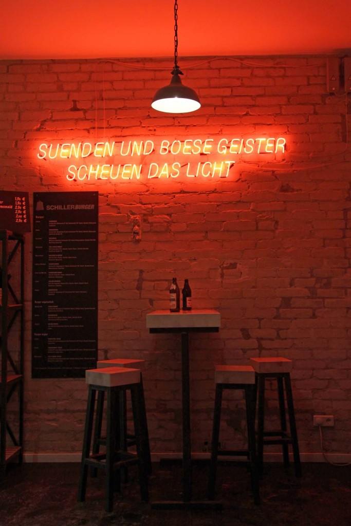 Neon Lit Interior at Schiller Burger Wühlichstrasse Berlin