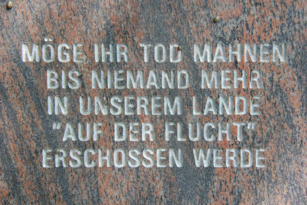A memorial to Johann Schehr, Rudolf Schwarz, Eugen Karl Schönhaar and Erich Steinfurth, victims of the Gestapo in 1934, near the Fernmeldeturm Berlin-Schäferberg, a TV and radio tower near Wannsee