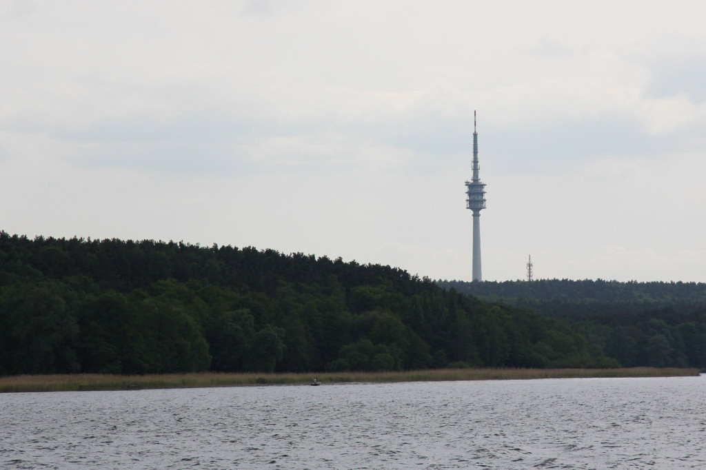 Fernmeldeturm Berlin-Schäferberg, a TV and radio tower as seen from Wannsee