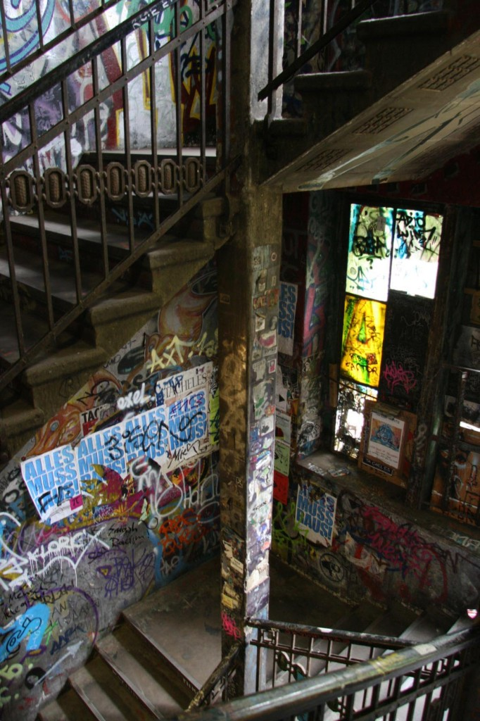 Graffitied staircase inside the former artists squat Kunsthaus Tacheles in Berlin