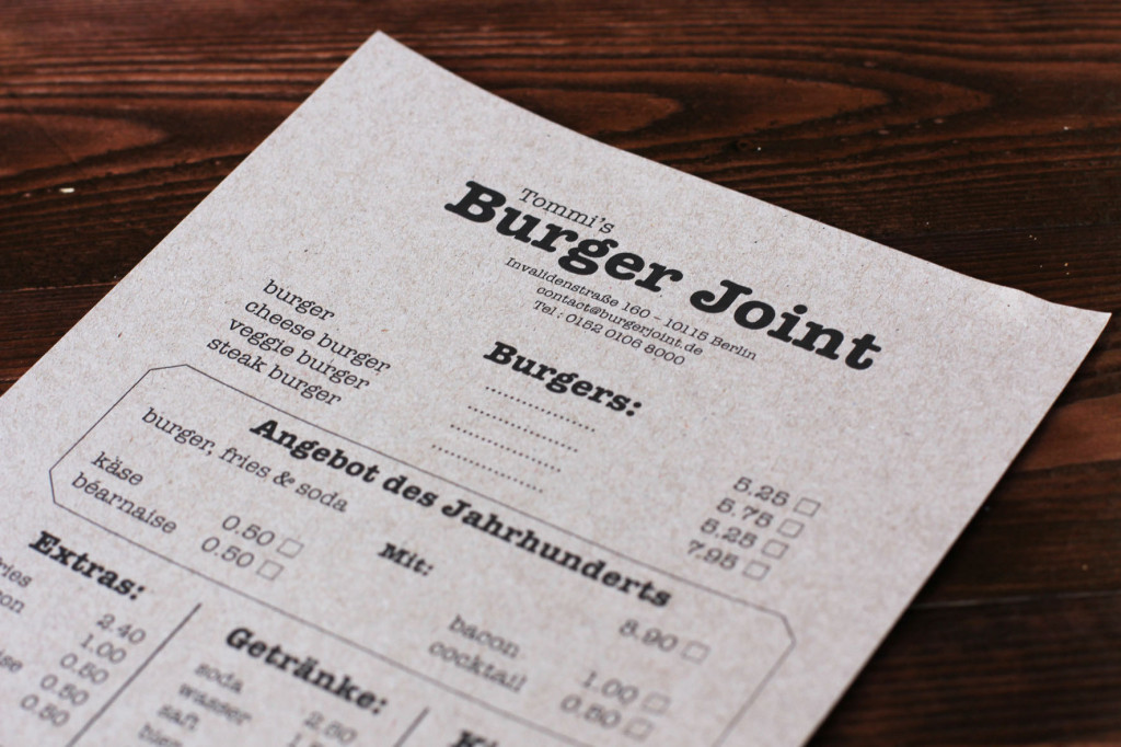 Menu at Tommi's Burger Joint Berlin