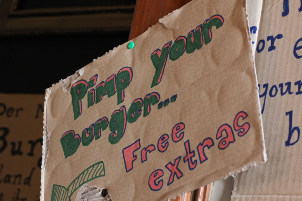 Pimp Your Burger sign at Tommi's Burger Joint Berlin