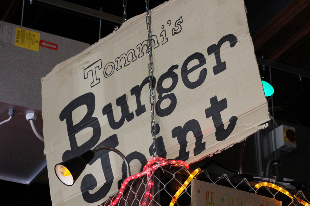 Cardboard sign at Tommi's Burger Joint Berlin