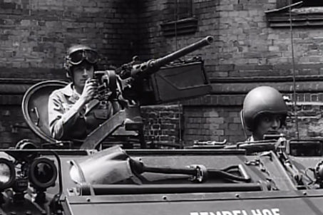 Soldiers in a tank marked Tempelhof from the US Army documentary The Big Picture - Berlin Duty