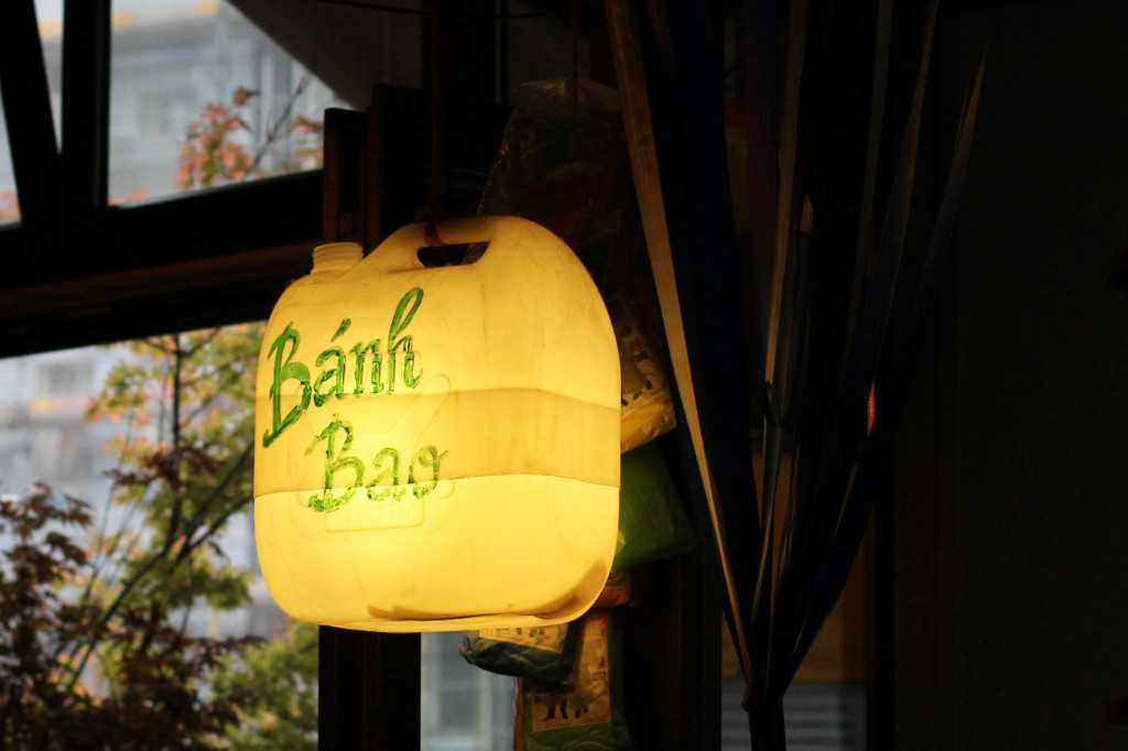 'Banh Bao' a light made from a plastic fuel container at District Mot, a Vietnamese restaurant, in Berlin