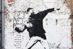 Banksy in Berlin – 'Flower Chucker / Flower Thrower'