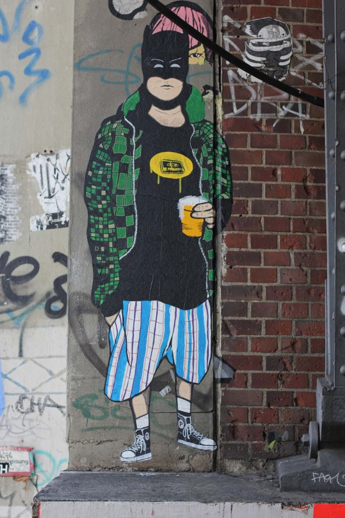 Batman With Beer - Street Art by Unkown Artist in Berlin