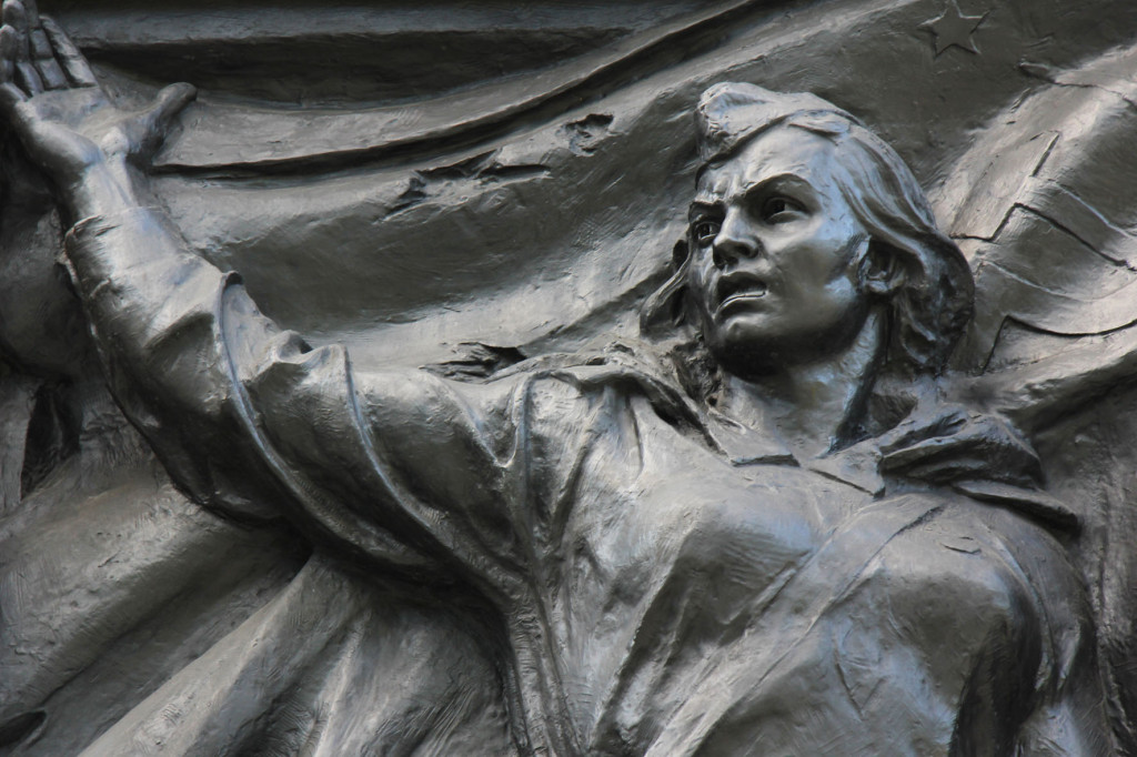 Bronze Relief of Female Soldier at Soviet Memorial in Schönholzer Heide in Berlin