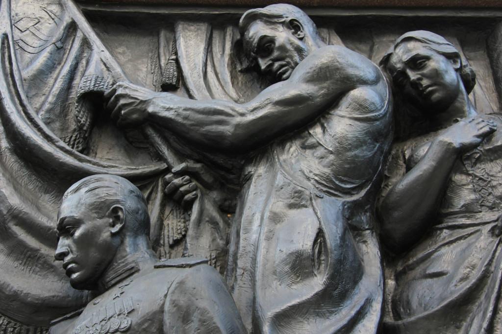 Bronze Relief of Soldier and Grieving Parents at Soviet Memorial in Schönholzer Heide in Berlin