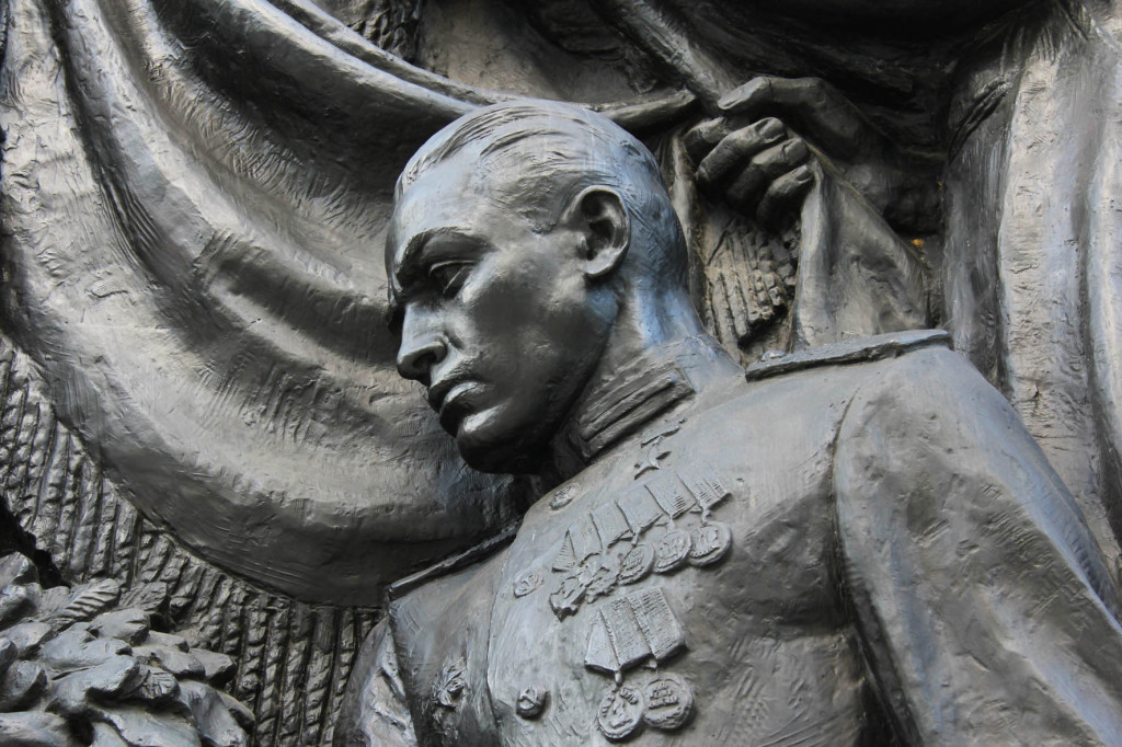 Bronze Relief of Soldier at Soviet Memorial in Schönholzer Heide in Berlin