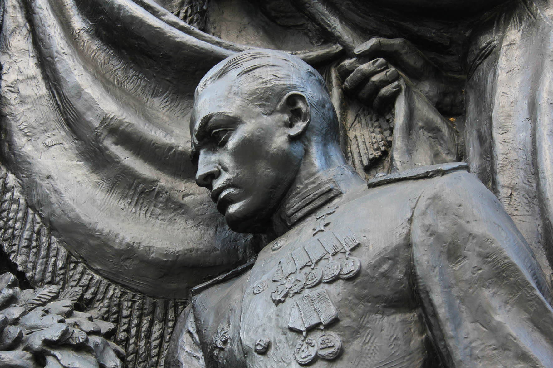 Bronze Relief of Soldier at Soviet Memorial in Schönholzer Heide in Berlin