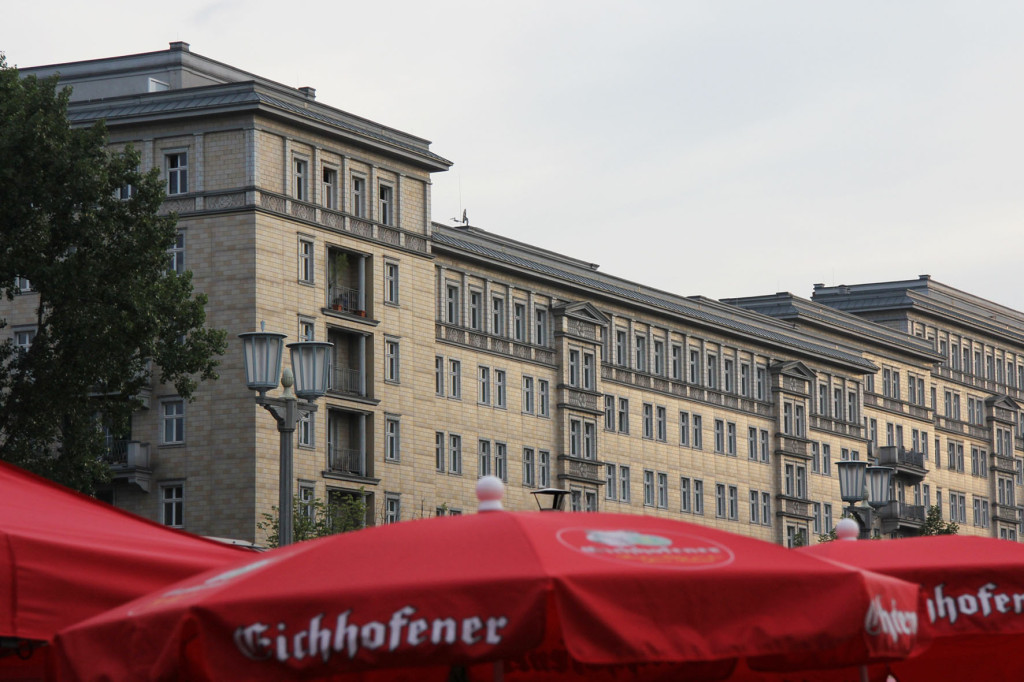 Buildings on Karl-Marx-Allee during the International Berlin Beer Festival (Internationales Berliner Bierfestival)