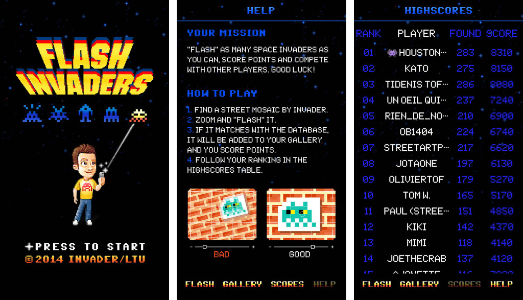 Screenshots from the FlashInvaders app from Street Artist Invader