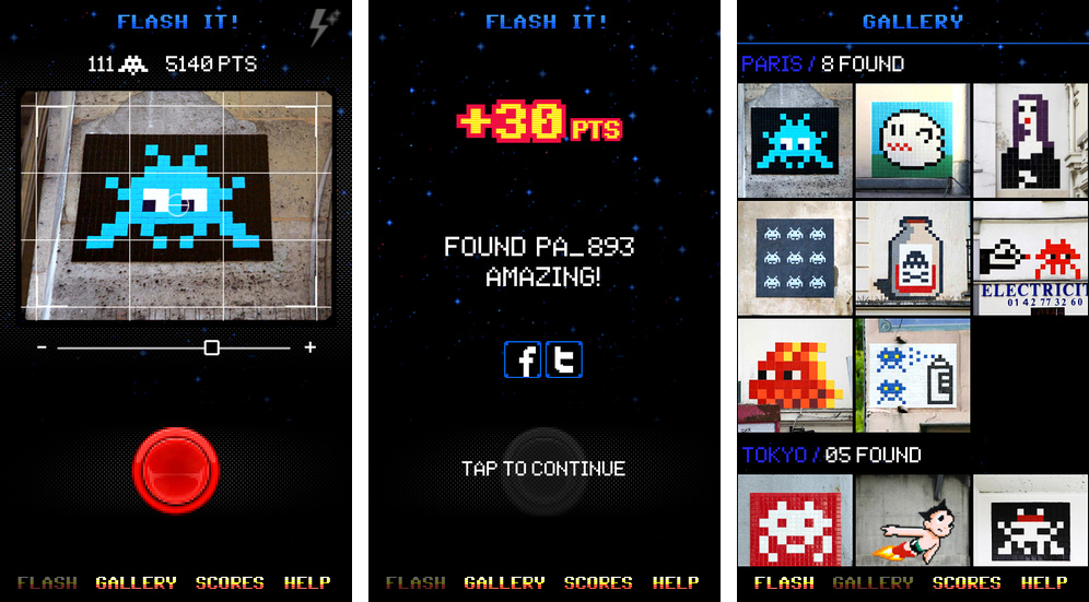 Screenshots from the FlashInvaders app from Street Artist Invader on the App Store