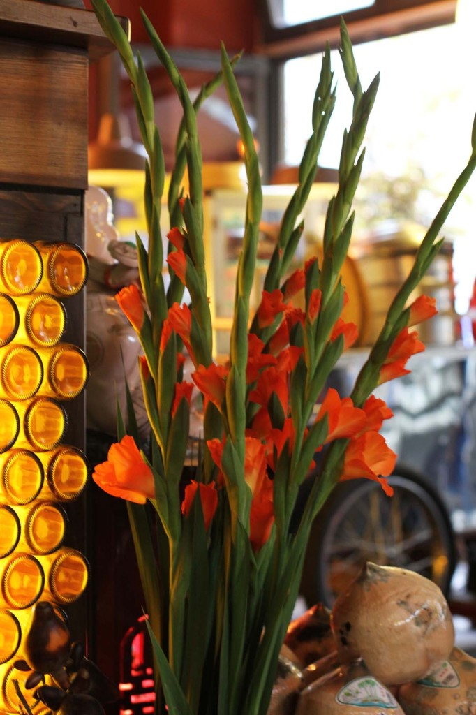 Gladioli flowers at District Mot, a Vietnamese restaurant, in Berlin