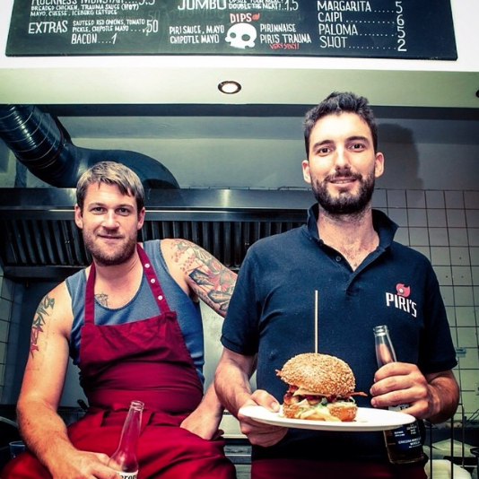 Jordi and Jules at Piri's Chicken Burgers Berlin