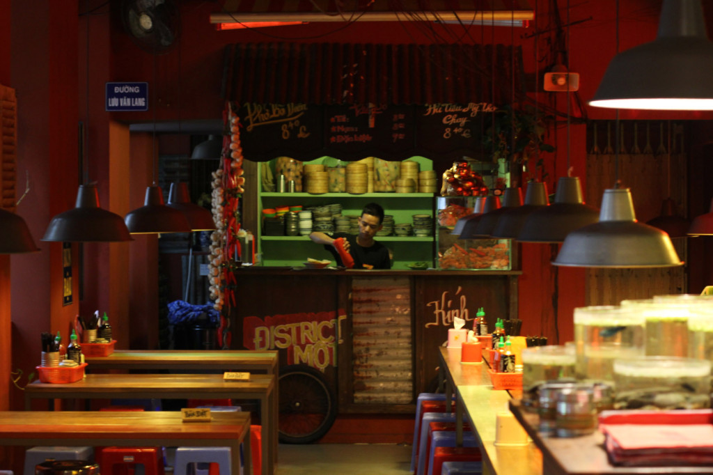 The 'street vendor' kitchen at District Mot, a Vietnamese restaurant, in Berlin