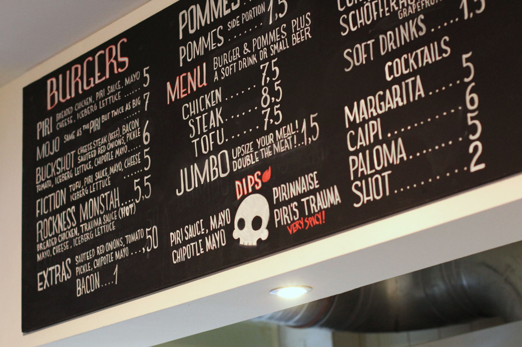 Menu at Piri's Chicken Burgers in Berlin