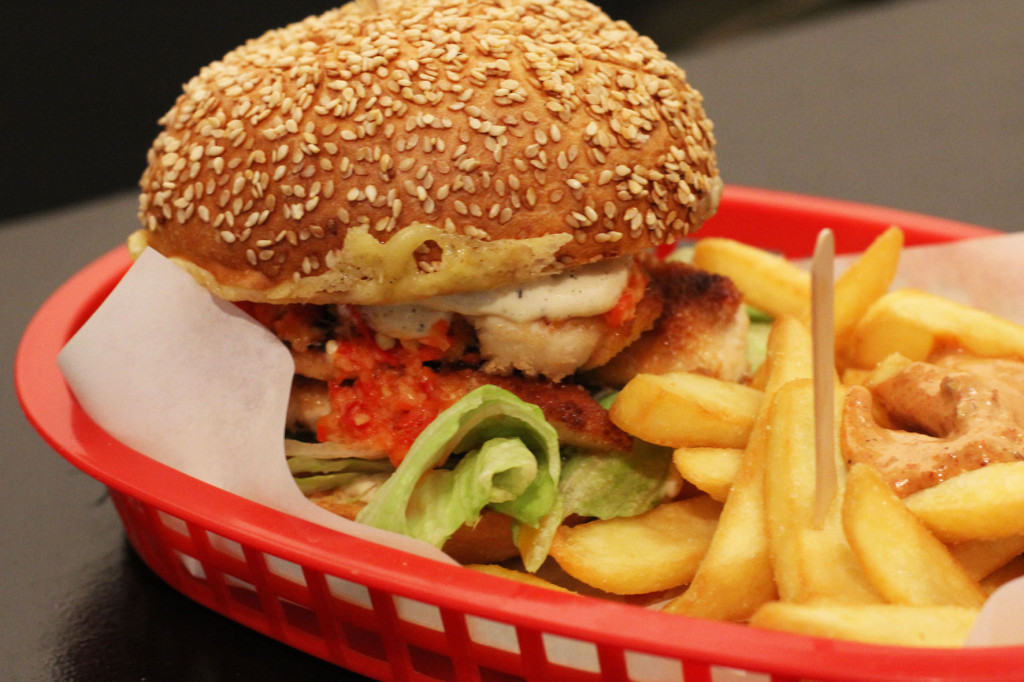Piri Burger Close Up at Piri's Chicken Burgers in Berlin