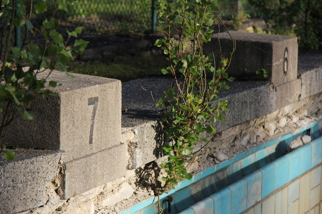 Starting Blocks at BVG Freibad (also BVB Freibad) an abandoned swimming pool on Siegfriedstrasse in Berlin Lichtenberg