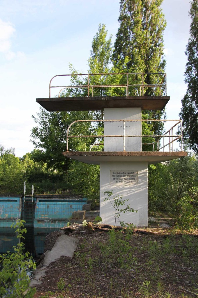 The Diving Tower at BVG Freibad (also BVB Freibad) an abandoned swimming pool on Siegfriedstrasse in Berlin Lichtenberg
