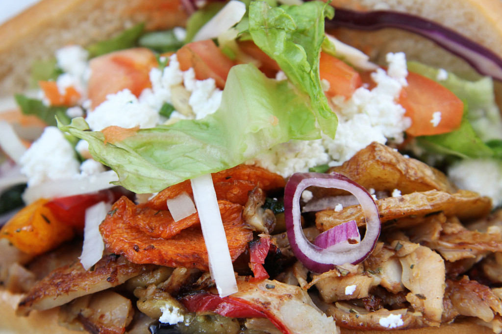 Close up of Hähnchen Gemüse Döner at Mustafa's Gemüse Kebap in Berlin