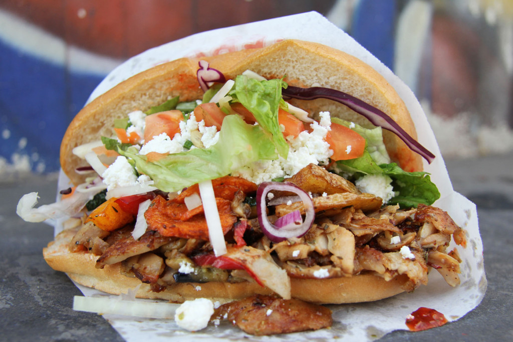Hähnchen Gemüse Döner at Mustafa's Gemüse Kebap in Berlin - one of my best Berlin Kebaps (best Berlin Kebabs)