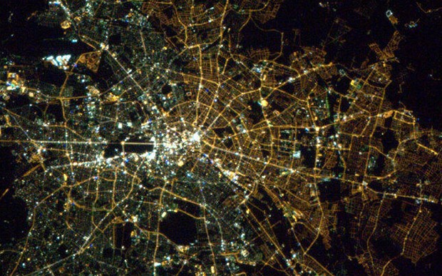 The East West Divide in Berlin Lights As Seen From the International Space Station
