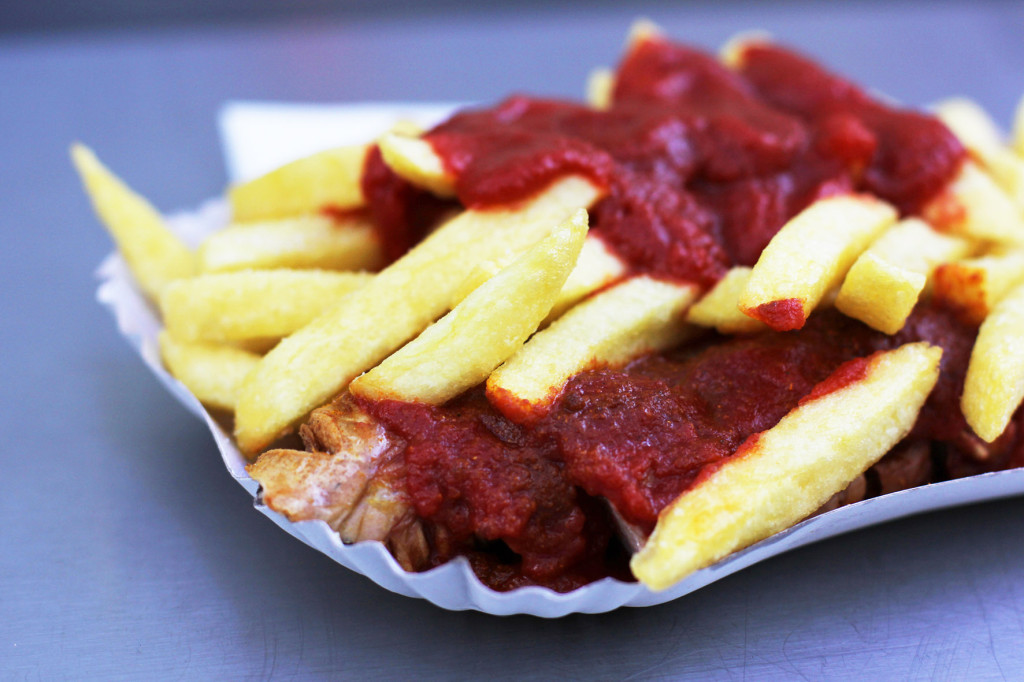 Close up of Currywurst and Chips at Zur Bratpfanne in Berlin
